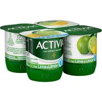 Activia de lima-limón 0% DANONE, pack 4x125 g