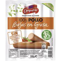 Salchicha 100% pollo baja en grasa CAMPOFRÍO, sobre 200 g