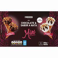 Cono midi de nata-chocolate EROSKI, 8 unid., caja 315 g