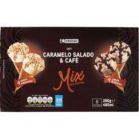 Cono midi de café-caramelo salado EROSKI, 4+4 unid., caja 315 g