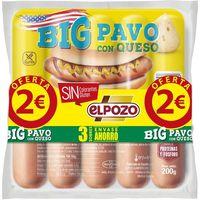Salchichas Big de pavo con queso EL POZO, pack 3x180 g