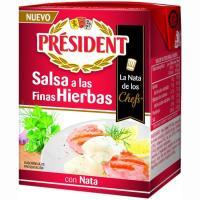 Salsa con nata-finas hierbas PRESIDENT, brik 200 ml