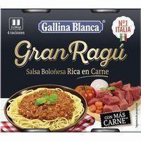 Salsa para pasta gran ragú GALLINA BLANCA, pack 2x180 g