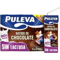 Batido de cacao sin lactosa PULEVA, pack 6x200 ml