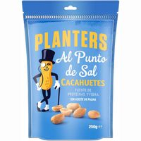 Cacahuetes al punto sal PLANTERS, bolsa 250 g