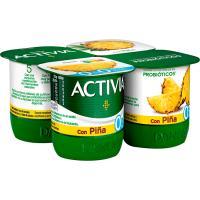 Activia 0% con piña DANONE, pack 4x125 g