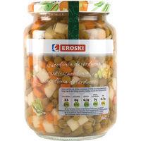 Macedonia de verduras EROSKI, frasco 450 g