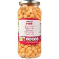 Garbanzos cocidos EROSKI basic, frasco 400 g