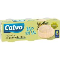 Atún claro en aceite oliva bajo en sal CALVO, pack 3x80 g
