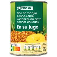 Piña en rodajas EROSKI, lata 340 g