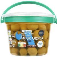 Aceitunas sabor anchoa EROSKI, tarrina 300 g