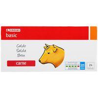 Caldo de carne EROSKI basic, 24 pastillas, caja 240 g