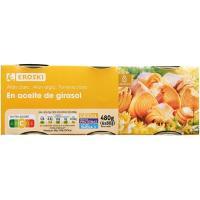 Atún claro en aceite de girasol EROSKI, pack 6x80 g