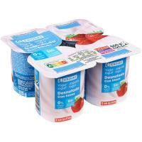 Yogur desnatado con fresas EROSKI, pack 4x125 g