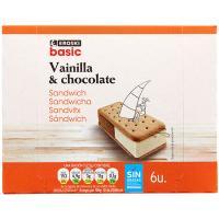 Sandwich de vainilla-chocolate EROSKI basic, pack 6x100 ml
