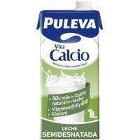 Leche Semidesnatada Calcio PULEVA, brik 1 litro