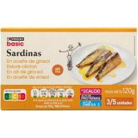 Sardina en aceite de girasol EROSKI basic, lata 115 g