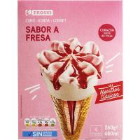 Cono de fresa EROSKI, pack 4x65 g