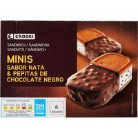 Mini sandwich bañado duo EROSKI, caja 6x85 ml