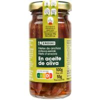 Anchoa en aceite de oliva EROSKI, frasco 55 g