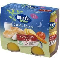 Tarrito de pollo-verduras HERO Buenas Noches, pack 2x190 g