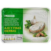 Queso para untar a las finas hierbas EROSKI, tarrina 200 g