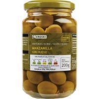 Aceitunas verdes con hueso EROSKI, frasco 200 g