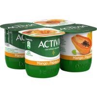 Activia con mango-papaya y un toque de soja DANONE, pack 4x125 g