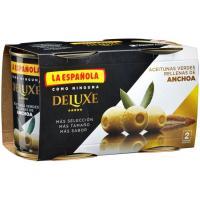 Aceitunas rellenas de anchoa luxe LA ESPAÑOLA, pack 2x85 g