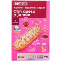 Baguette de jamón-mozzarella EROSKI, pack 2x125 g