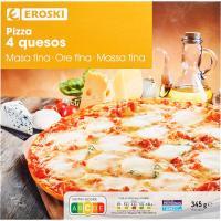 Pizza Premium 4 quesos EROSKI, caja 350 g