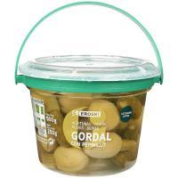 Aceitunas gordal con pepinillo EROSKI, tarrina 250 g
