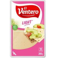 Queso tierno light EL VENTERO, lonchas, bandeja 200 g