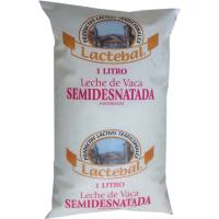 Leche Fresca Semidesnatada LACTEBAL, bolsa 1 litro