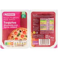 Taquitos de bacon ahumado con humo natural EROSKI, pack 2x100g