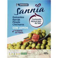 Guisantes con jamón EROSKI Sannia, bandeja 300 g